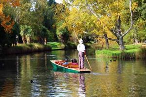 Punting on the Avon Christchurch - North South Holiday Park